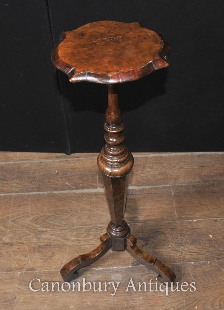 Antique William And Mary Walnut Pedestal Stand Table 1860