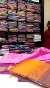 One of many fabric shops in Hyderabad, India