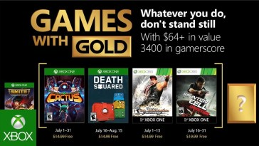 Microsoft anuncia Xbox Games With Gold de Julho