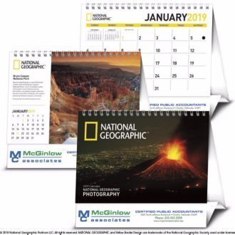 Looking for personalized calendars with a view?Iconic photography transports you around the Earth with this 2019 National Geographic desktop calendar.