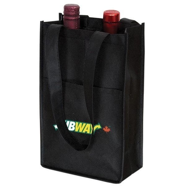 two bottle wine bag - black
