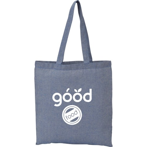 recycled cotton twill tote - blue