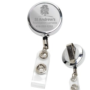 Chrome Retractable Badge Reel and Badge Holder
