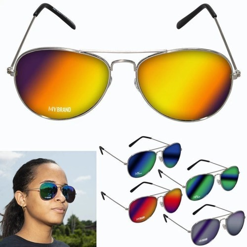 Custom Mirrored Aviator Sunglasses