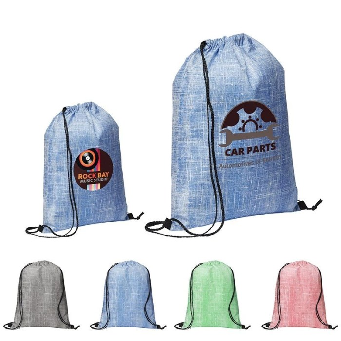 Denim Pattern Non-Woven Drawstring Backpack