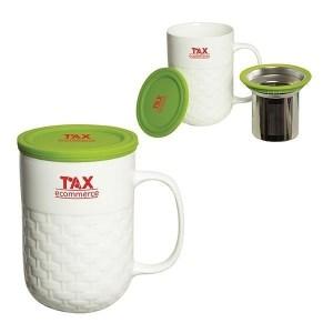 Porcelain Custom Tea Mug w/ Strainer – 15 oz.