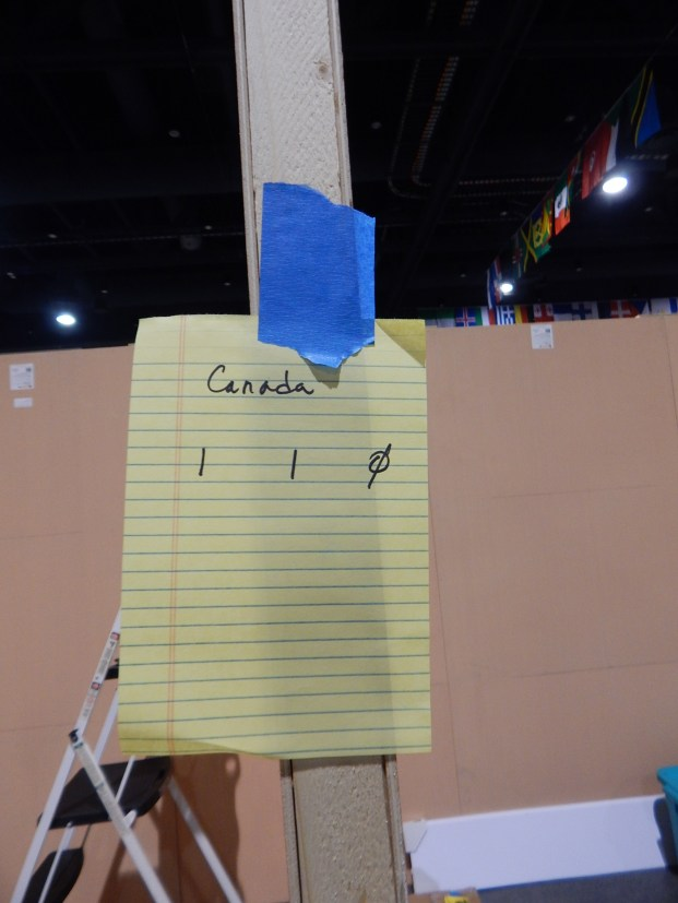 Our booth ID label...
