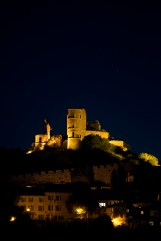 Grimaud's château at night