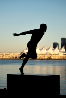 The Harry Jerome statue in Stanley Park.