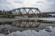 Rail bridge reflected