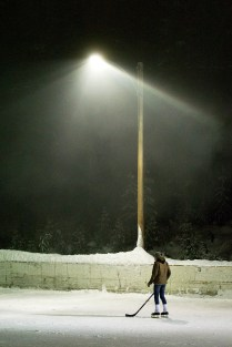 Floodlit hockey game