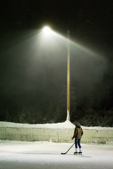 Floodlit hockey game