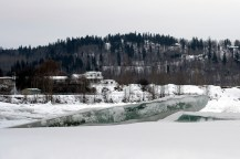 Looking towards Johnson Subdivision from a frozen Quesnel River.