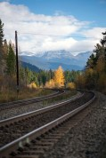 The railway line that snakes its way through the Yellowhead Pass and up into Alberta. This was close to Yellowhead Lake.