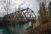 Wooden bridge over the Fraser River at Tete Jaune Cache, British Columbia.