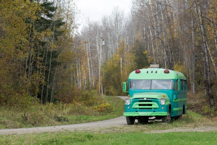An old bus close to the picnic grounds, where Dunster holds a music festival every year.
