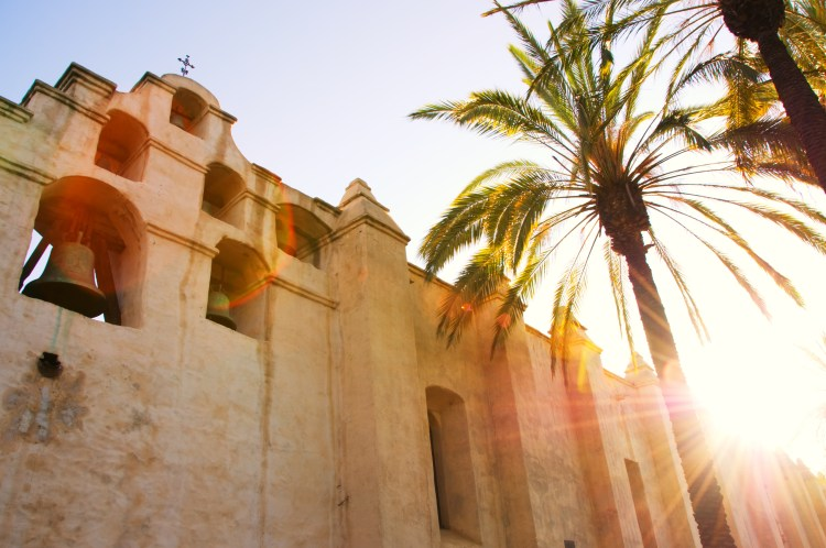 April 3, 2016: Photo of Mission San Gabriel Arcangel with lens flare and sun star ,which is located in San Gabriel Californa USA.