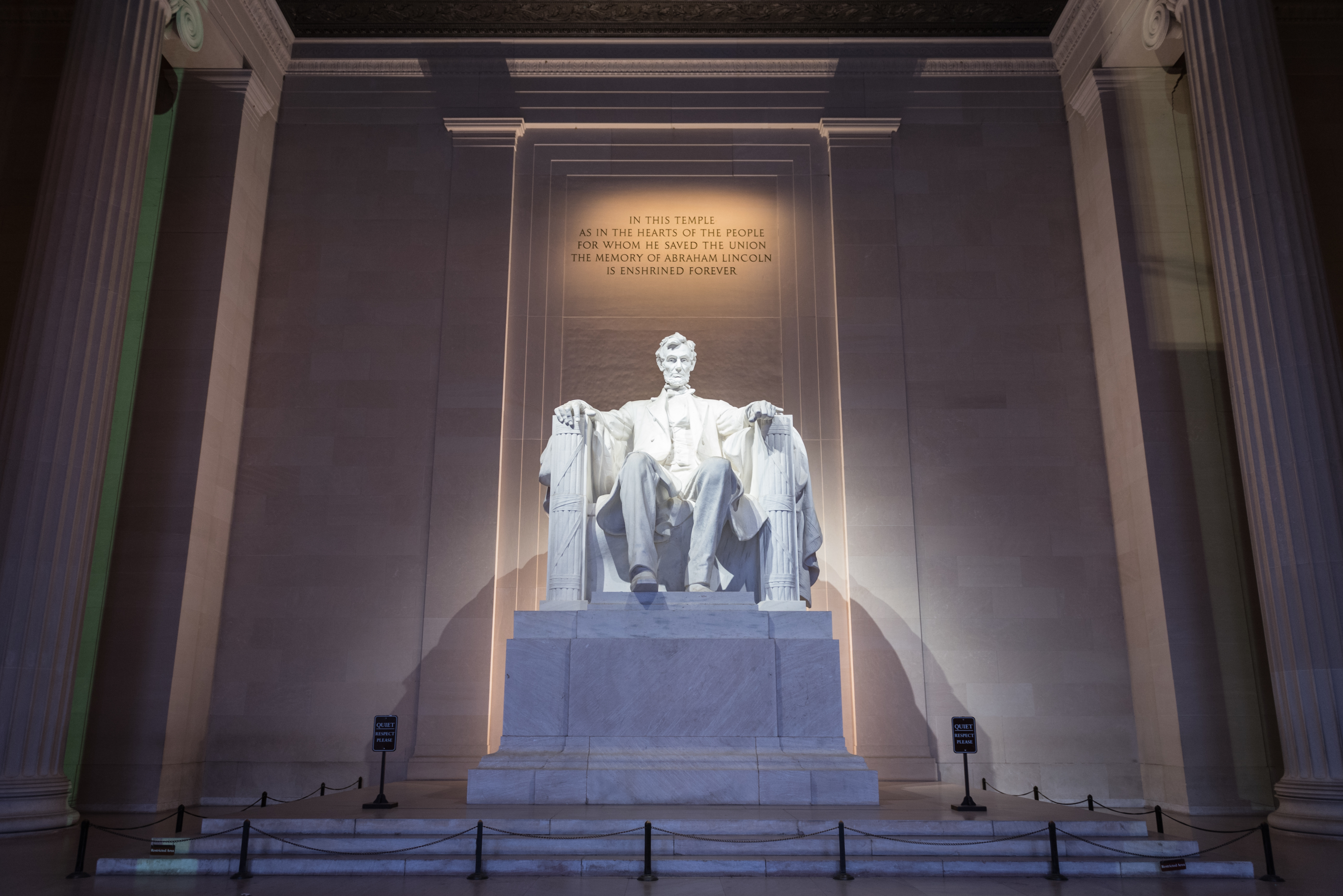 """Lincoln Memorial with the inscription, """"In this temple, as in the hearts of the people for whom he saved the Union, the memory of Abraham Lincoln is enshrined forever."""""""