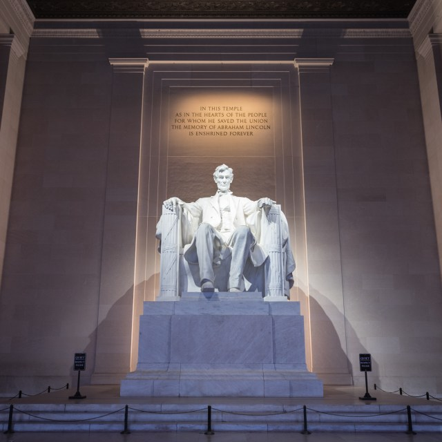 "Lincoln Memorial with the inscription, ""In this temple, as in the hearts of the people for whom he saved the Union, the memory of Abraham Lincoln is enshrined forever."""