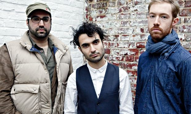 The rhythm section on Mockroot: (from left to right) Sam Minaie (bass), Tigran Hamasyan, and Arthur Hnatek (drums)  CREDIT: Maeve Stam