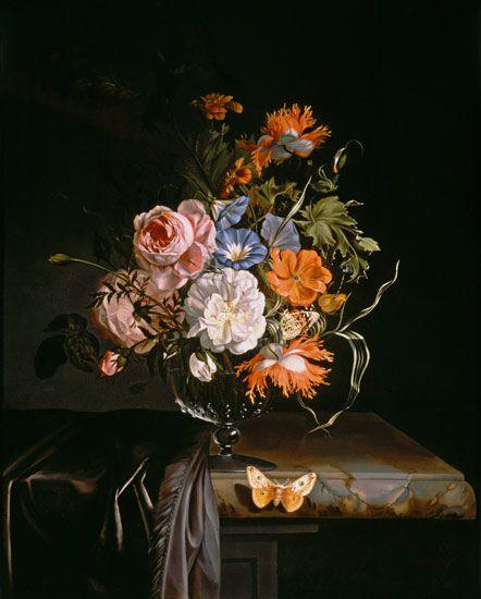 <br>Rachel Ruysh, <em>Natura morta di fiori in vaso sporgente</em>, s.d.