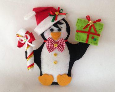 Pinguim Natalino em Feltro