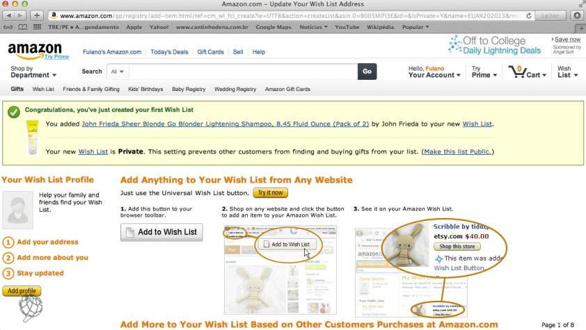 tela Amazon wish