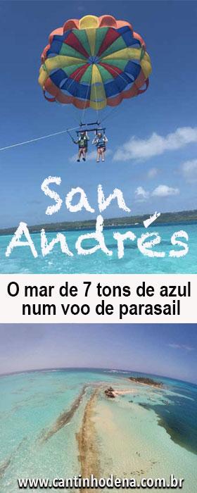 Parasail em San Andrés para ver os 7 tons de azul do mar