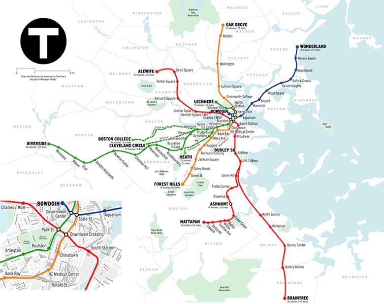 Mapa do metrô em Boston