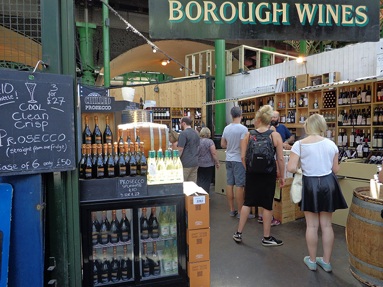 Corredor de vinhos do Borough Market