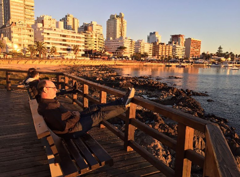 Por do sol no Puerto em Punta Del Este