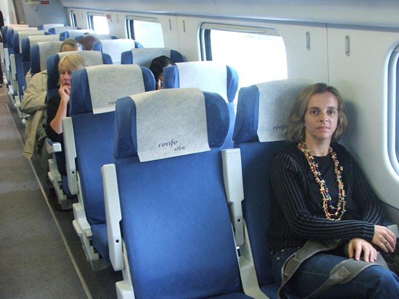 Classe turística num num trem pela Espanha