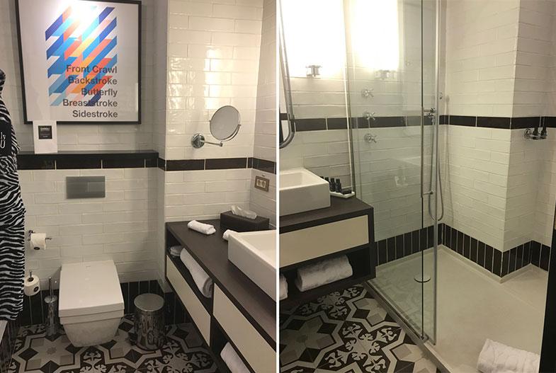 Banheiro do Only You hotel em Madrid