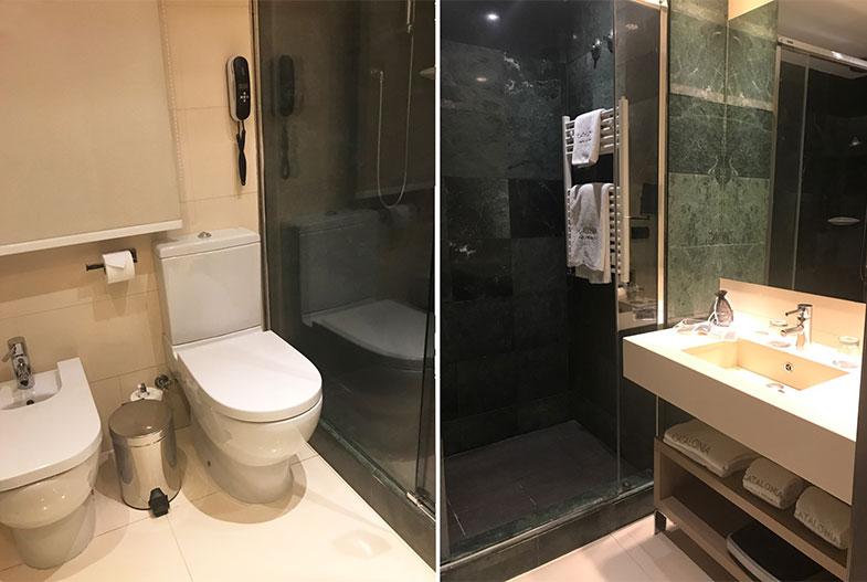 Banheiro do Catalonia Atocha hotel em Madrid