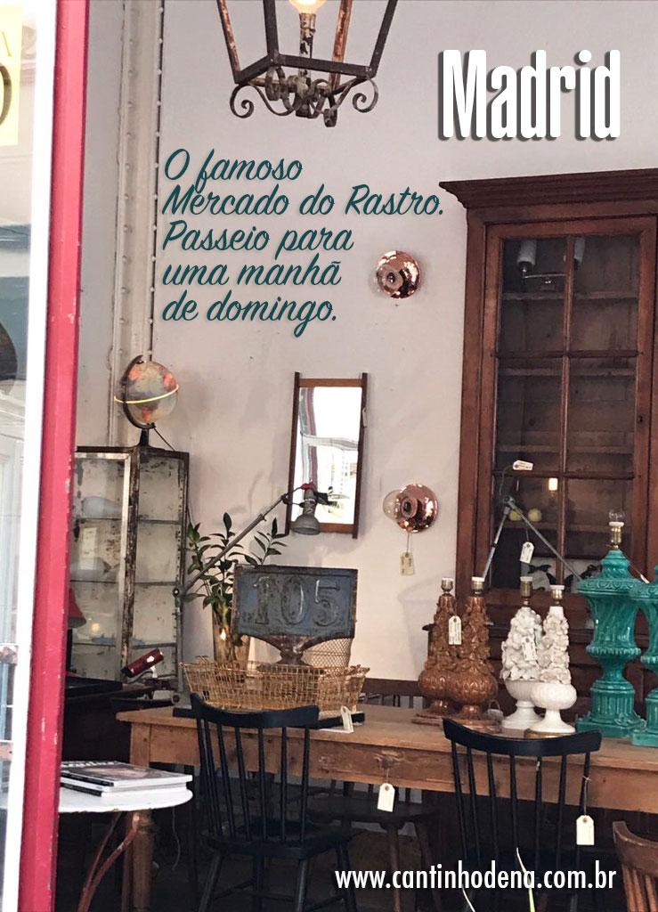 Dica de passeio num domingo em Madrid: Mercado do Rastro, para quem gosta de antiguidade e brechó não pode perder.