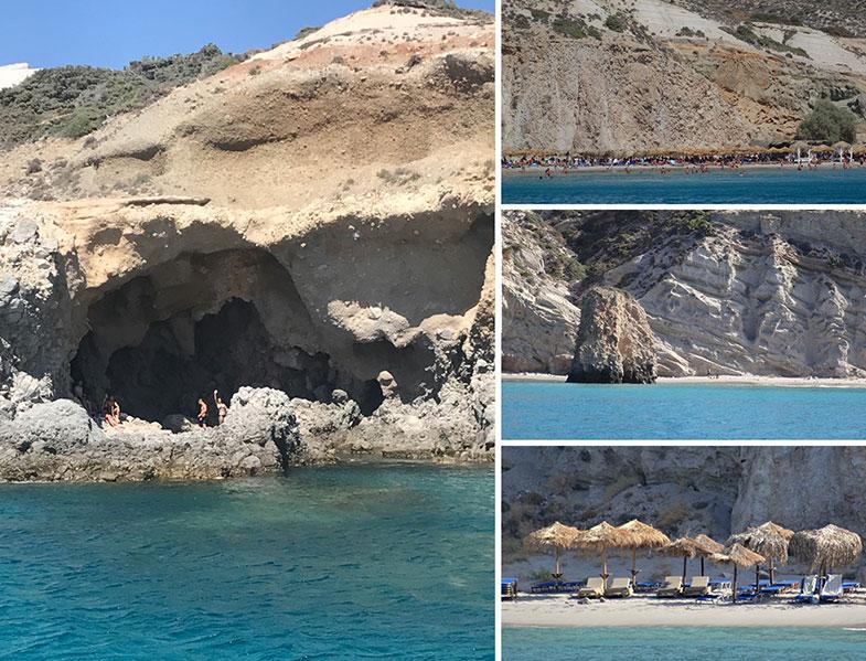 Praias no litoral sul de Milos
