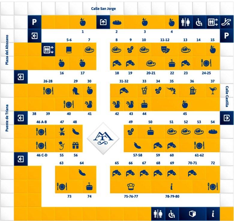 Mapa do Mercado de Triana em Sevilha