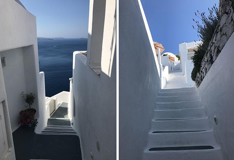 Escadas de acesso aos quartos do La Perla Villa em Santorini