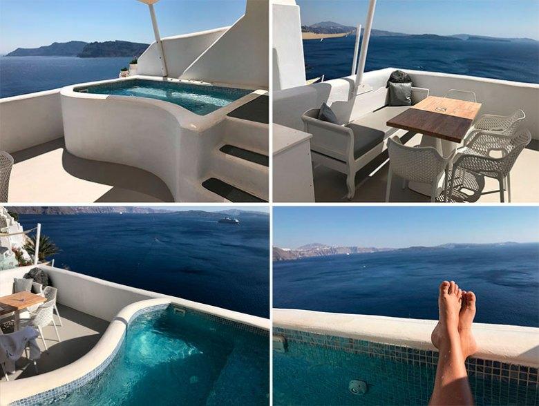 Varanda do hotel onde ficamos em Santorini