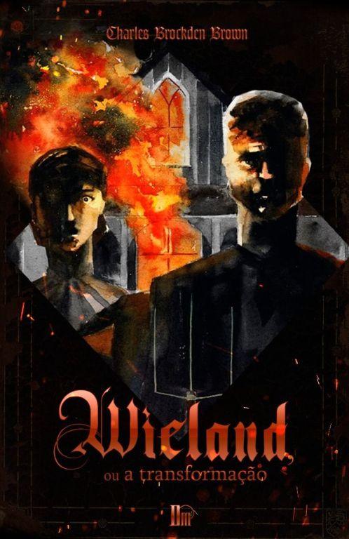 Mulher e homem parados em frente a igreja em chamas. Eles estão vestidos com roupas de época.