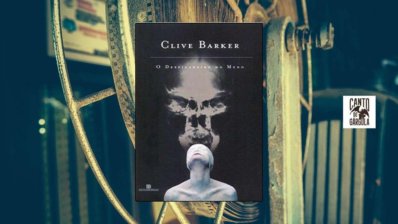 Capa do livro Desfiladeiro do Medo. Ao fundo um role de filme antigo.