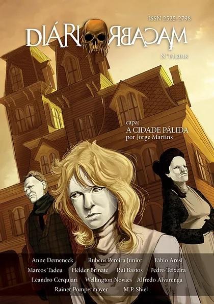Capa da revista com três pessoas usando uma máscara pálida em frente à uma mansão amarelada.