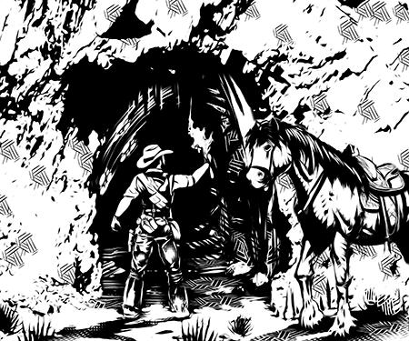 Homem desmontado de seu cavalo na boca de uma estranha caverna.