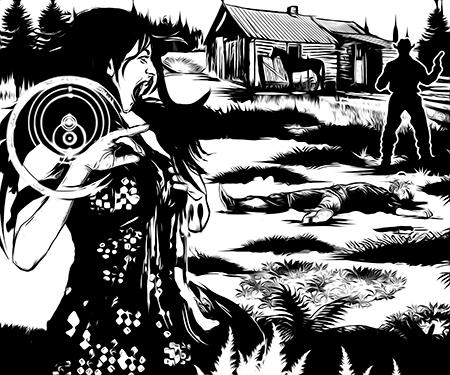 Mulher gritando, amaldiçoa o cowboy que acabou de matar seu marido.