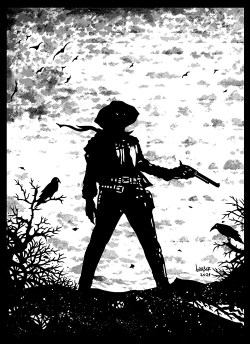 Desenho em preto e branco de um cowboy segurando uma pistola, com um corvo empoleirado numa árvore.