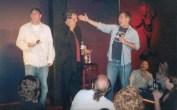 Celebrating Lewis Blacks birthday onstage at Omaha Funny Bone