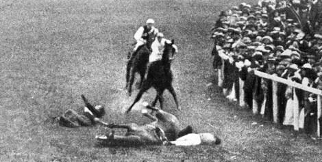 Suffragette Emily Davison throws herself under at Epsom Derby