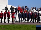 Prince Charles, David Johnson, Francois Hollande, Justin Trudea, Prince William, Prince Harry, step onto the monument.