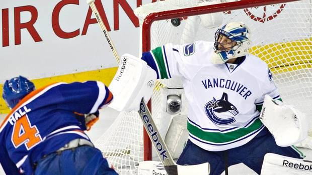 Taylor Hall scores a hat trick against the Vancouver Canucks