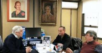 """Partido Justicialista, se reunieron Hugo Moyano, Rubén """"Cholo"""" García y Gustavo Arrieta, para concretar un frente social, sindical y político."""